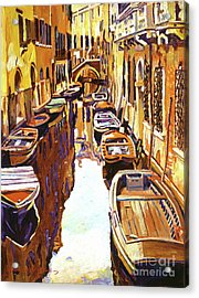 Venice Canal Acrylic Print by David Lloyd Glover