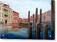 Venice Canal Acrylic Print by Irving Starr