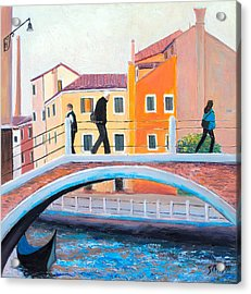 Venice Canal Painting Acrylic Print by Jan Matson