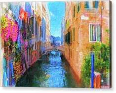 Venice Canal Painting Acrylic Print