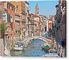 Venice Canaletto Bridging Acrylic Print by Heiko Koehrer-Wagner