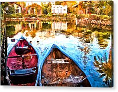 Venice Canals Canoes In California Acrylic Print