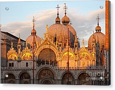 Venice Church Of St. Marks At Sunset Acrylic Print by Heiko Koehrer-Wagner