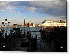 Venice Cruise Ship Acrylic Print by Andrew Fare