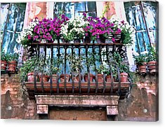 Acrylic Print featuring the photograph Venice Flower Balcony by Allen Beatty