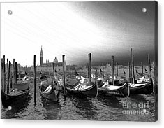 Venice Gondolas Black And White Acrylic Print