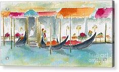 Venice Gondolas Acrylic Print by Pat Katz