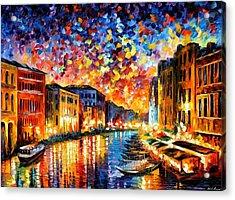 Venice - Grand Canal Acrylic Print by Leonid Afremov