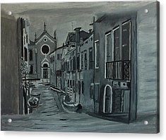 Acrylic Print featuring the painting Venice In Grey And White by Rod Jellison