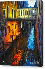 Venice Italy - Colorful Canal At Night Acrylic Print by Gregory Dyer