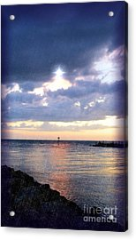 Venice Jetty At Dusk Acrylic Print