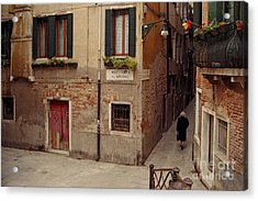 Venice Lady In Black Acrylic Print by Lawrence Costales
