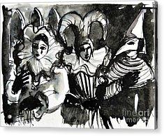 Venice Masks Trio Acrylic Print by Mona Edulesco