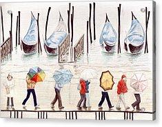 Venice Rain Acrylic Print by Julia Collard