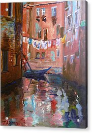 Venice Reflections Acrylic Print by Therese Alcorn