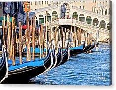 Venice Sunny Rialto Bridge Acrylic Print by Heiko Koehrer-Wagner