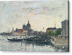 Venice, The Mole At The Entrance To The Grand Canal And The Salute, Evening Acrylic Print by Eugene Louis Boudin