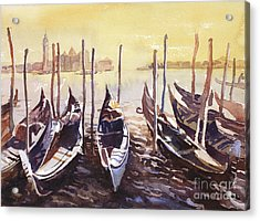 Acrylic Print featuring the painting Venice Watercolor- Italy by Ryan Fox