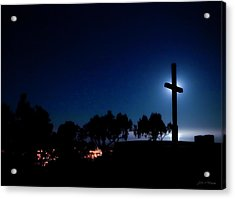 Ventura Ca Cross At Moonset Acrylic Print