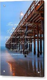 Acrylic Print featuring the photograph Ventura Ca Pier With Bible Verse by John A Rodriguez
