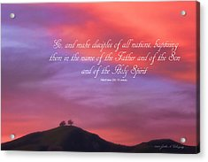 Ventura Ca Two Trees At Sunset With Bible Verse Acrylic Print by John A Rodriguez