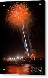 Acrylic Print featuring the photograph Ventura California Fair Fireworks by John A Rodriguez