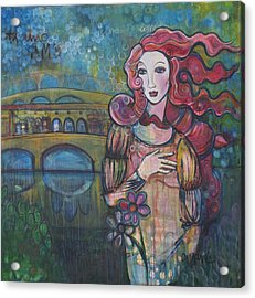 Venus And The Ponte Vecchio  Acrylic Print