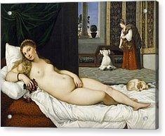 Venus Of Urbino Before 1538 Acrylic Print by Tiziano Vecellio