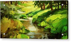 Acrylic Print featuring the painting Verdant Banks by Steve Henderson