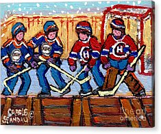 Verdun Hockey Rink Paintings Edmonton Oilers Vs Hometown Habs Quebec Hockey Art Carole Spandau       Acrylic Print by Carole Spandau