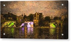 Vergennes Falls Lit Up Acrylic Print by Rena Trepanier