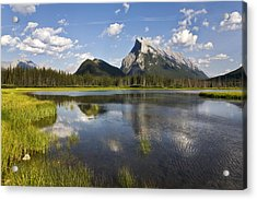 Vermillion Lake And Sulpher Mountain Acrylic Print