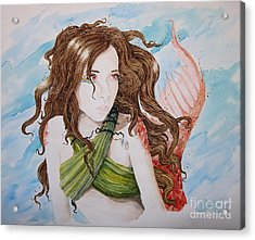 Vermillion Mermaid Acrylic Print by Theresa Higby