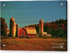 Acrylic Print featuring the photograph Vermont Autumn Barn by Deborah Benoit