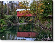Vermont Covered Bridge In Northfield Falls Acrylic Print by Jeff Folger
