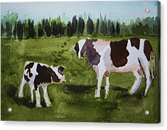 Acrylic Print featuring the painting Vermont Cow And Calf by Donna Walsh