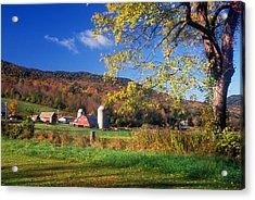 Vermont Farm In Autumn Acrylic Print by John Burk