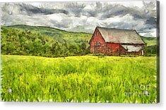 Vermont Farm Landscape Pencil Acrylic Print by Edward Fielding