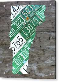 Vermont License Plate Map Art Edition 2017 Acrylic Print by Design Turnpike