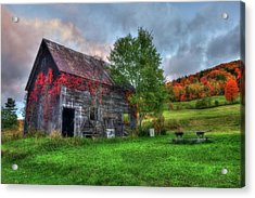 Vermont Red Barn In Autumn Acrylic Print by Joann Vitali