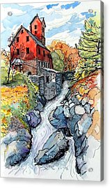 Acrylic Print featuring the painting Vermont Red by Terry Banderas