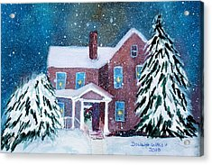 Acrylic Print featuring the painting Vermont Studio Center In Winter by Donna Walsh