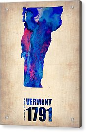 Vermont Watercolor Map Acrylic Print by Naxart Studio