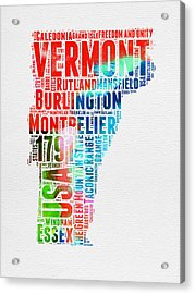 Vermont Watercolor Word Cloud  Acrylic Print by Naxart Studio