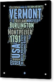 Vermont Word Cloud 1 Acrylic Print by Naxart Studio