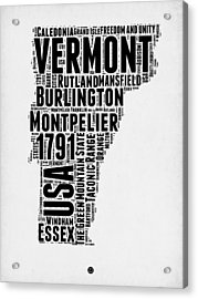 Vermont Word Cloud 2 Acrylic Print by Naxart Studio