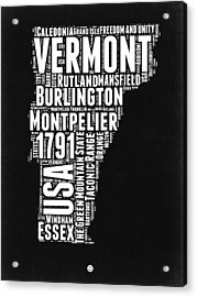 Vermont Word Cloud Black And White Map Acrylic Print by Naxart Studio