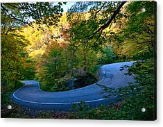 Vermonts Fall Colors Over Smugglers Notch Acrylic Print by Jeff Folger