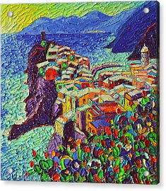 Vernazza Cinque Terre Italy 2 Modern Impressionist Palette Knife Oil Painting By Ana Maria Edulescu  Acrylic Print