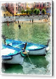Vernazza Harbor Cinque Terre Italy Acrylic Print by Edward Fielding